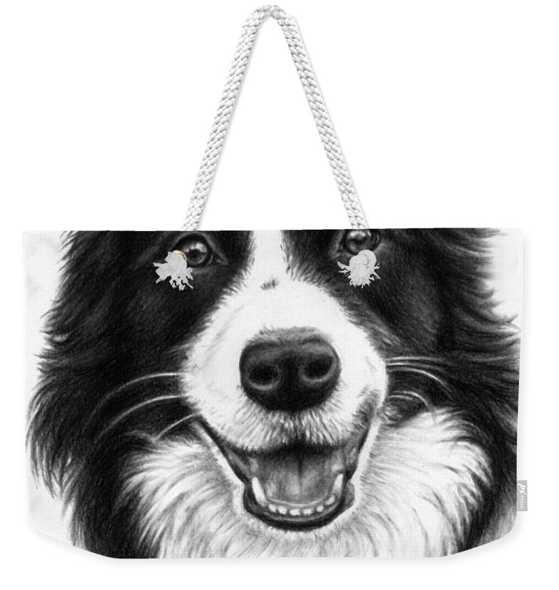 Dog Weekender Tote Bag featuring the drawing Border Collie by Nicole Zeug