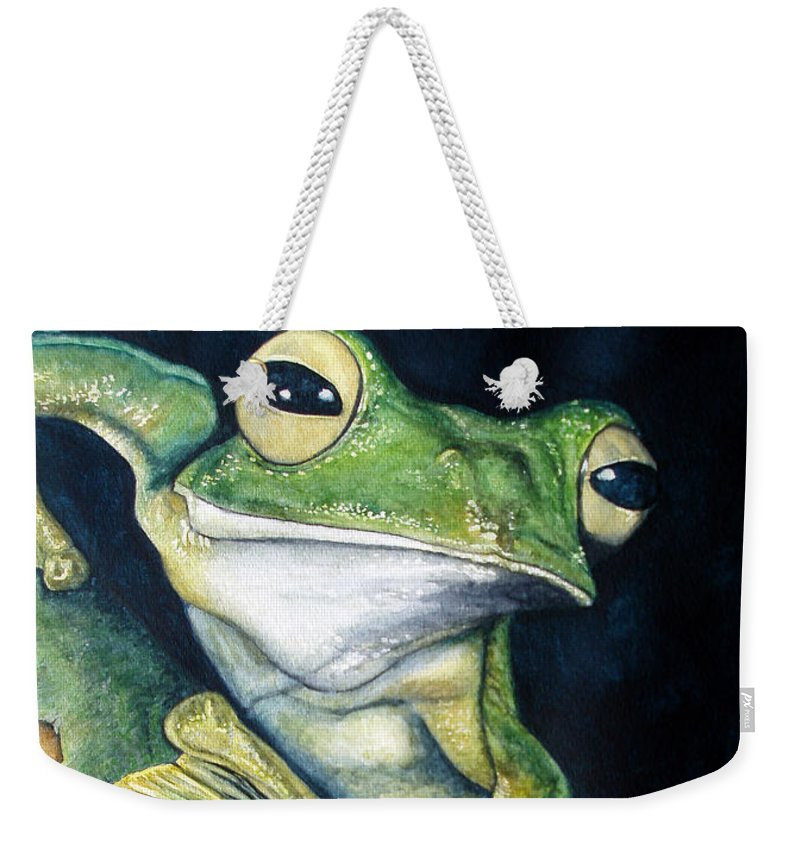 Frog Weekender Tote Bag featuring the painting Boreal Flyer Tree Frog by Joey Nash