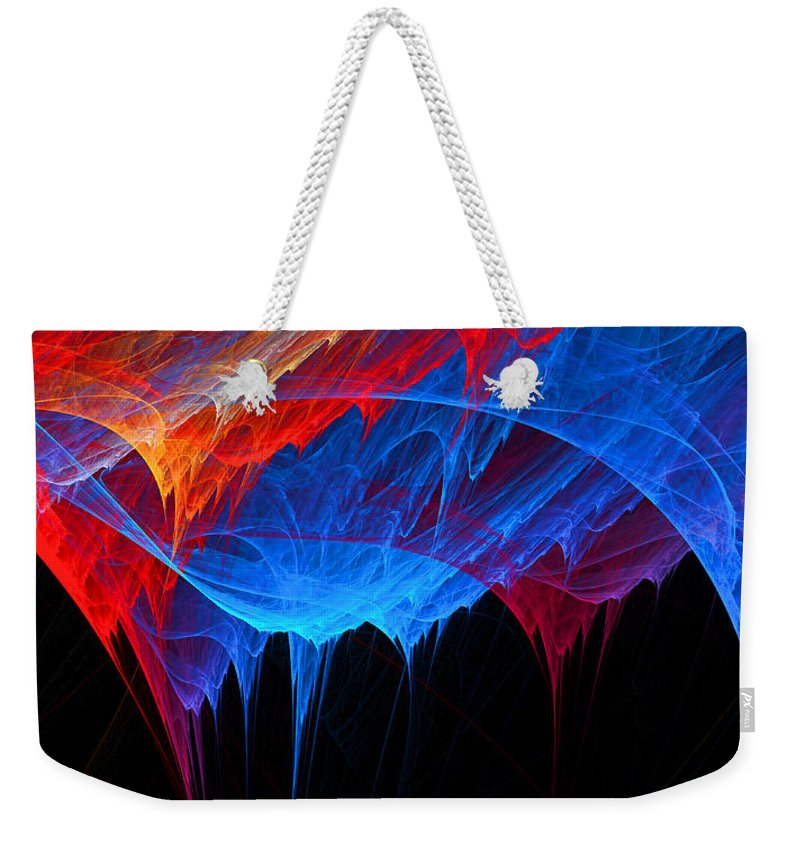 Red Weekender Tote Bag featuring the digital art Borealis - Blue And Red Abstract by Lourry Legarde