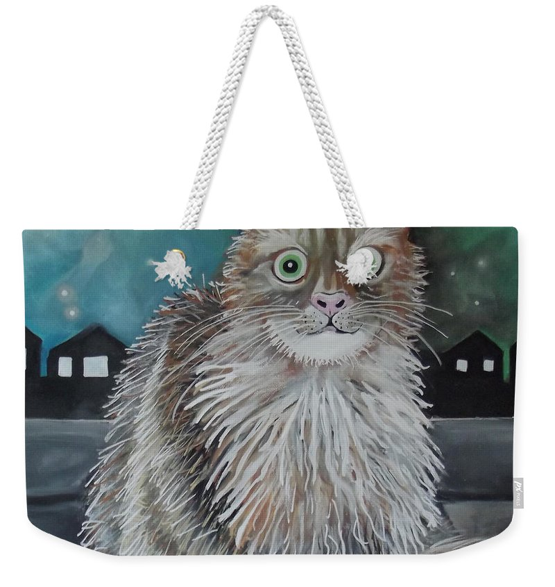 Cat Weekender Tote Bag featuring the painting Boris The Cat by Caroline Peacock