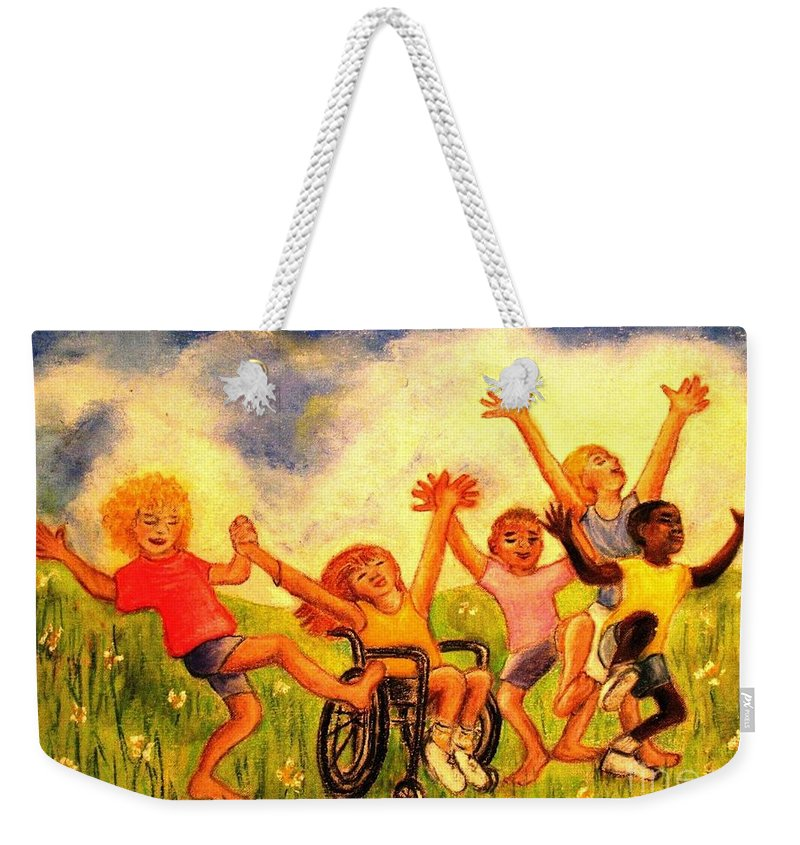 Children Weekender Tote Bag featuring the pastel Born To Be Free by Hazel Holland