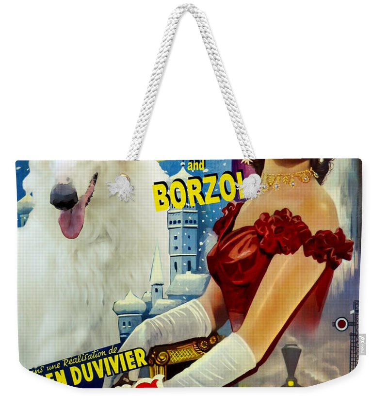 Dog Weekender Tote Bag featuring the painting Borzoi Art - Anna Karenine Movie Poster by Sandra Sij