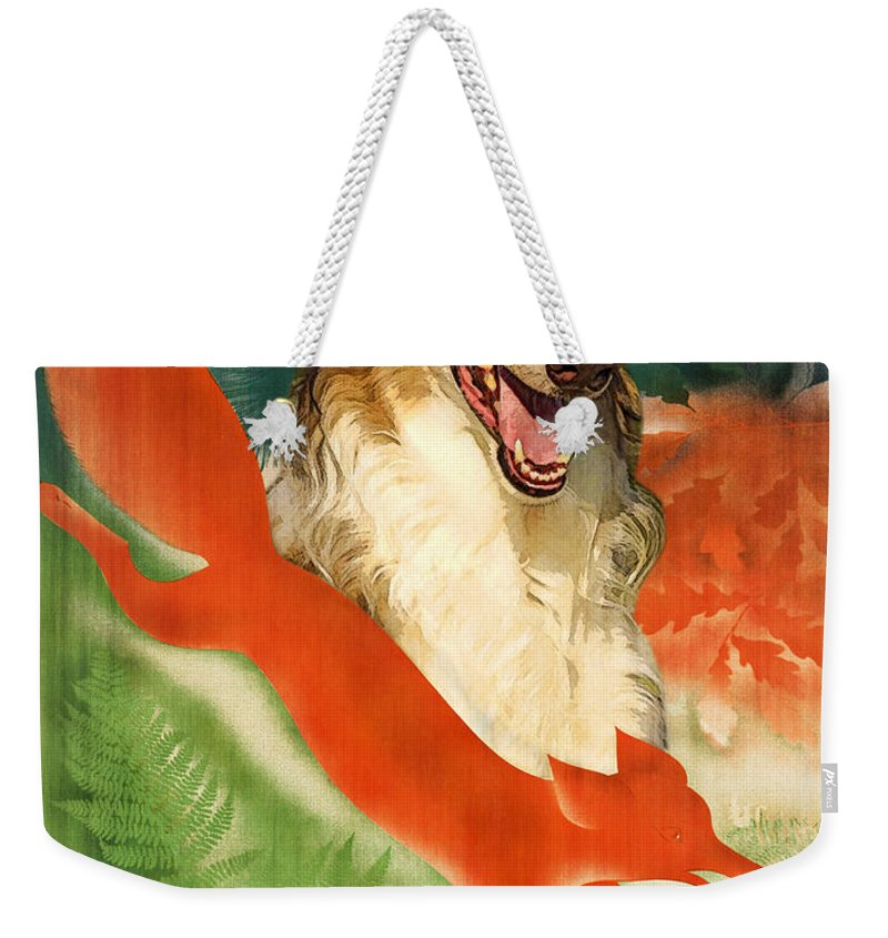 Dog Weekender Tote Bag featuring the painting Borzoi Art - Hunting In The Ussr Poster by Sandra Sij