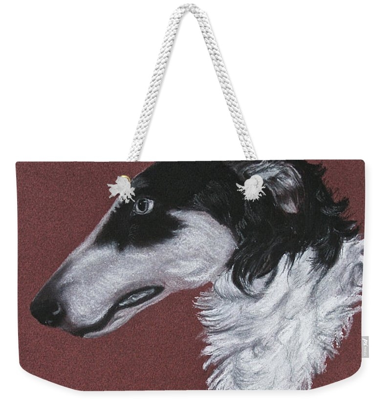 Borzoi Weekender Tote Bag featuring the drawing Borzoi by Susan Herber