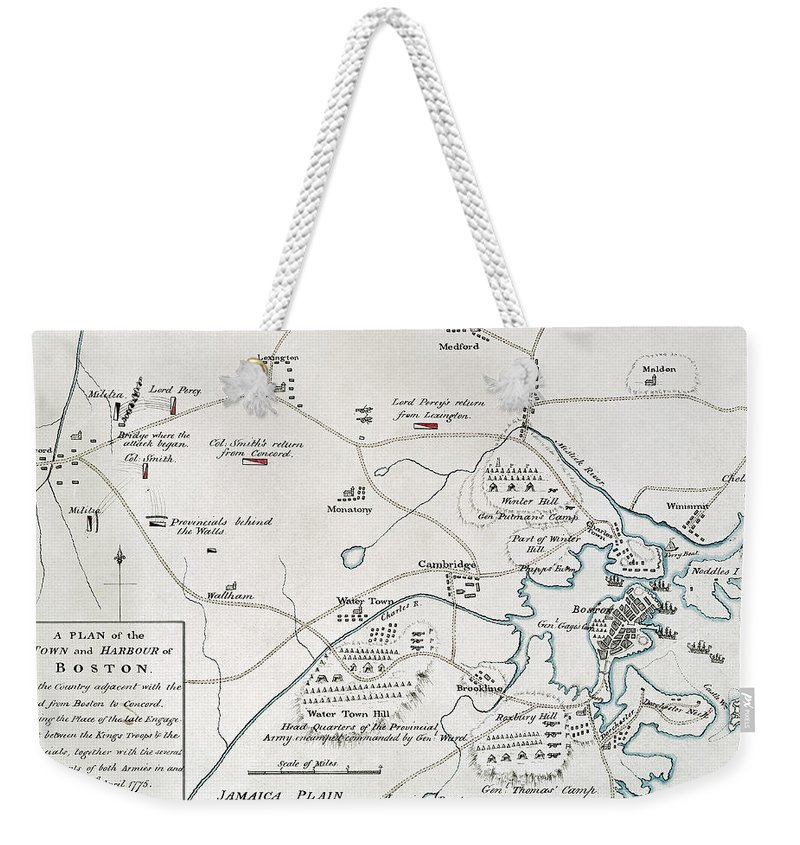 1775 Weekender Tote Bag featuring the photograph Boston-concord Map, 1775 by Granger