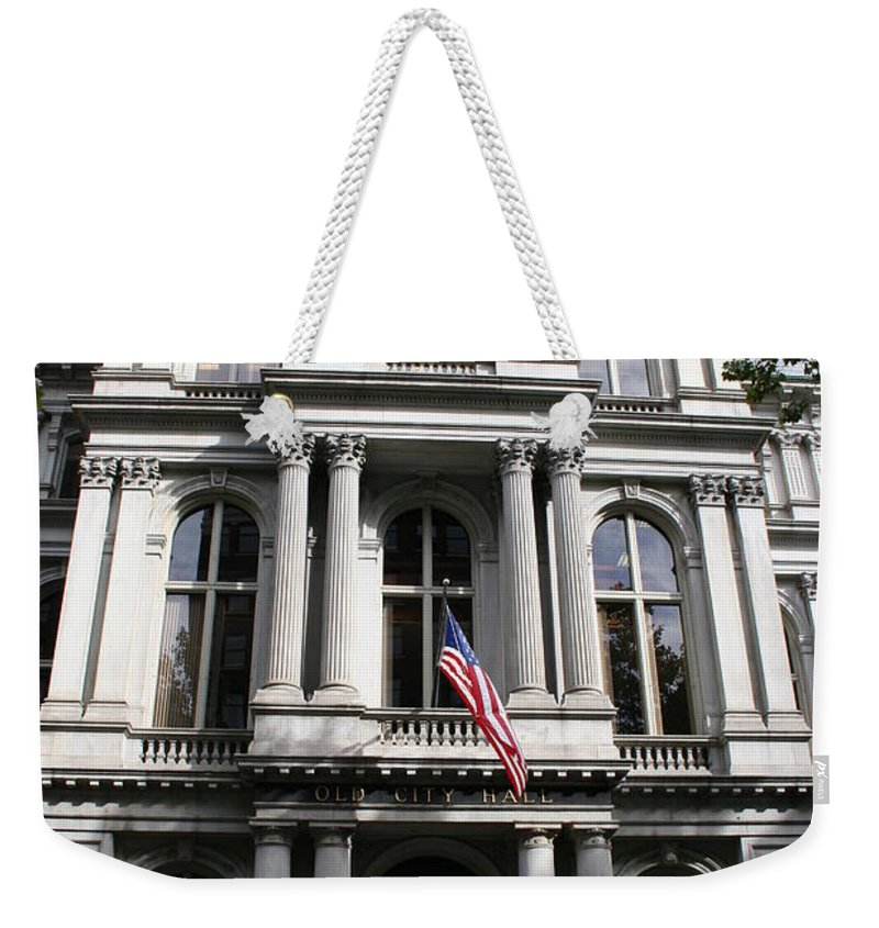 Boston Weekender Tote Bag featuring the photograph Boston Old City Hall by Christiane Schulze Art And Photography