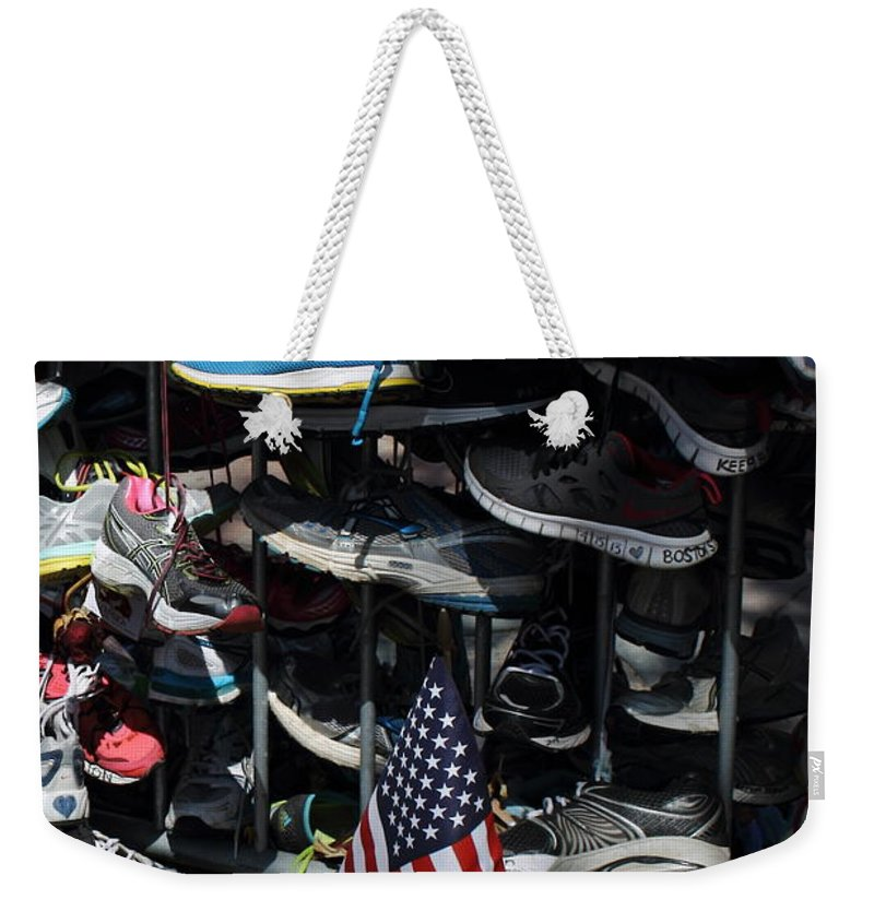 Boston Strong Weekender Tote Bag featuring the photograph Boston Strong by Jeff Heimlich