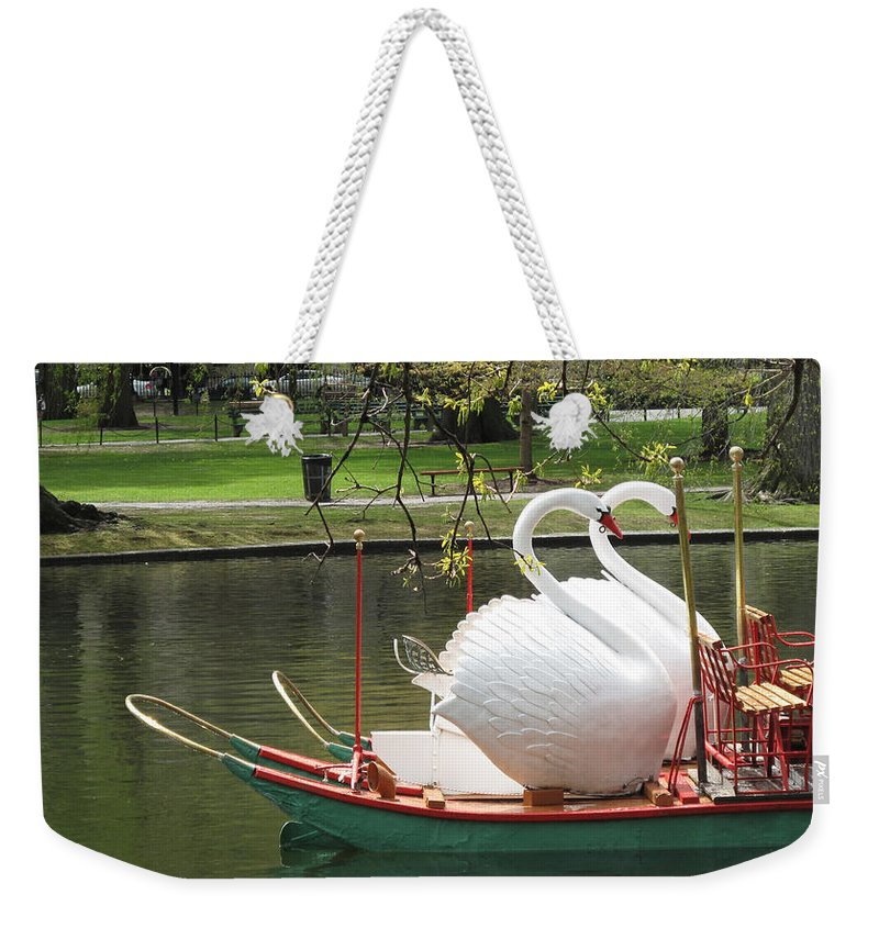 Landscape Weekender Tote Bag featuring the photograph Boston Swan Boats by Barbara McDevitt