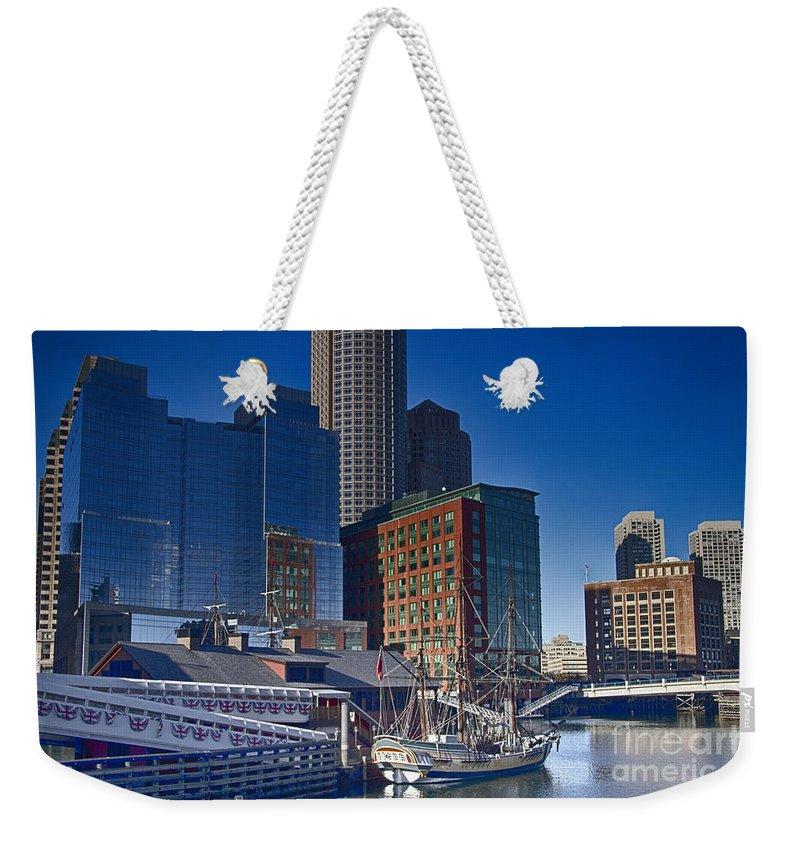 Boston Waterboat Marina Weekender Tote Bag featuring the photograph Boston-teaparty by Douglas Barnard