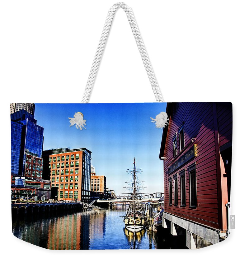 Boston Waterboat Marina Weekender Tote Bag featuring the photograph Boston-teaparty V2 by Douglas Barnard
