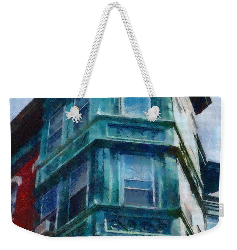 America Weekender Tote Bag featuring the painting Boston's North End by Jeffrey Kolker