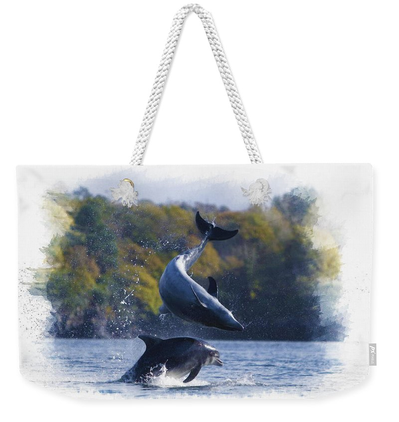 Bottlenose Dolphin Weekender Tote Bag featuring the digital art Bottleneck Dolphin Playing by Don Kuing