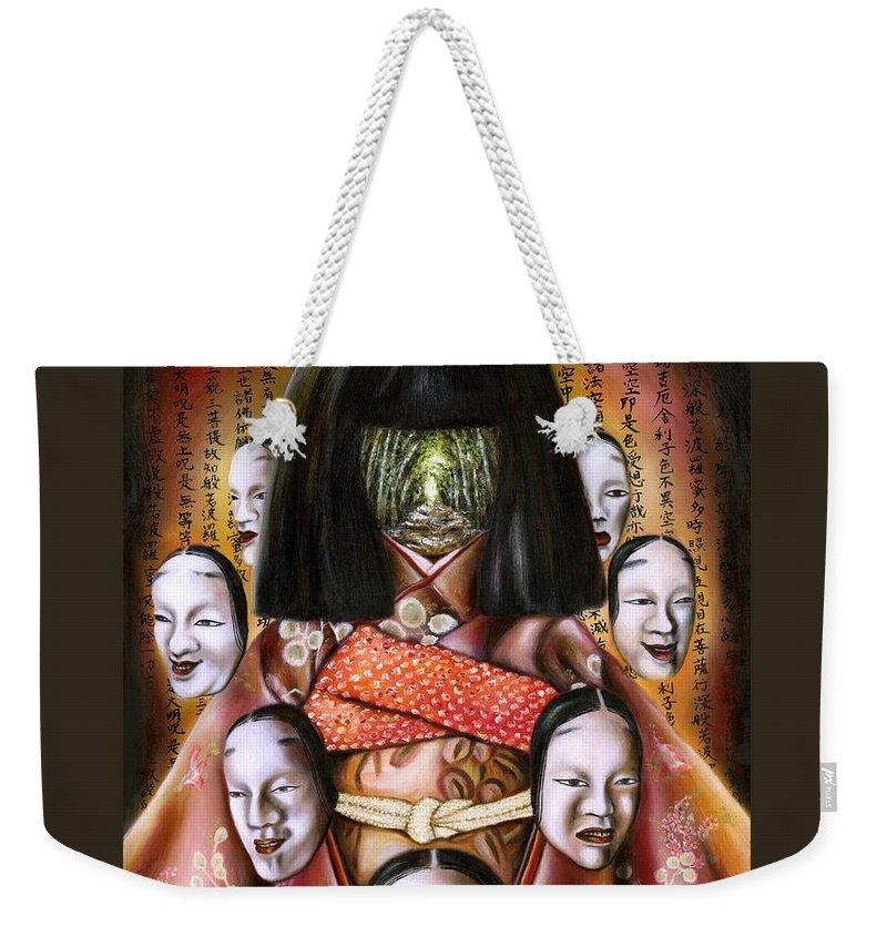Japanese Weekender Tote Bag featuring the painting BOUKYO Nostalgisa by Hiroko Sakai