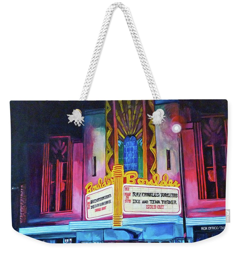 Boulder Theater Weekender Tote Bag featuring the painting Boulder Theater by Tom Roderick