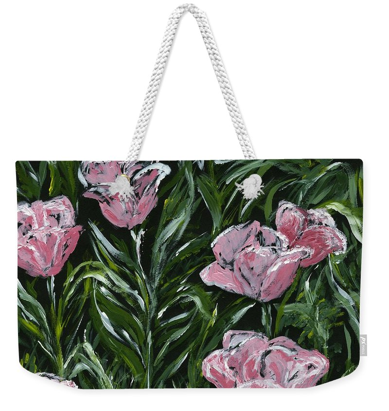 Tulips Weekender Tote Bag featuring the painting Boulder Tulips by Alice Faber