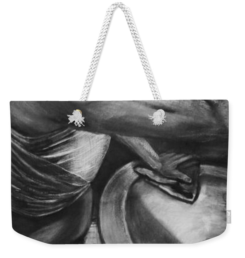 Gender Weekender Tote Bag featuring the drawing Bound To Barbasol by Devon Reiffer