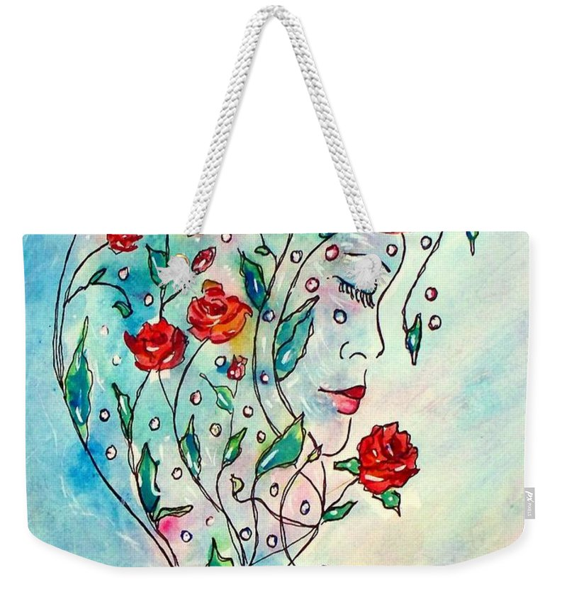 Bouquet Weekender Tote Bag featuring the painting Bouquet Of Love by Robin Monroe