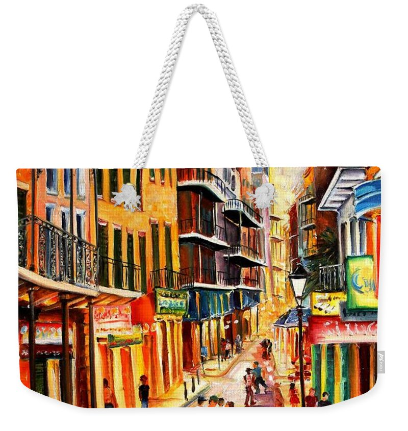 New Orleans Weekender Tote Bag featuring the painting Bourbon Street Mood by Diane Millsap