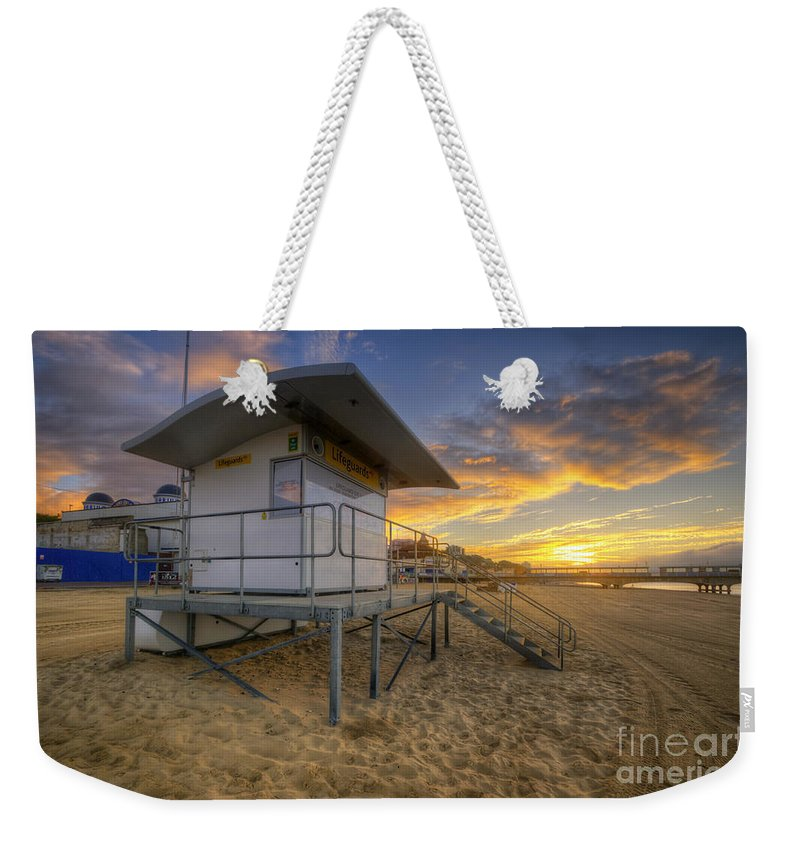 Hdr Weekender Tote Bag featuring the photograph Bournemouth Beach Sunrise by Yhun Suarez