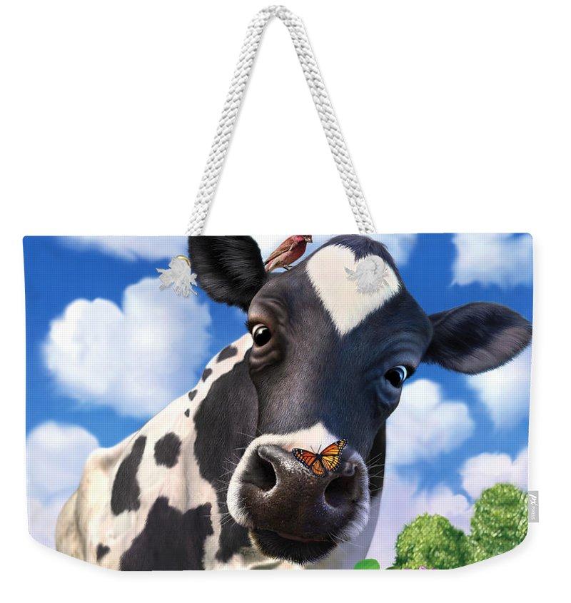 Cow Weekender Tote Bag featuring the digital art Bovinity by Jerry LoFaro