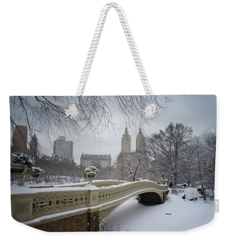 Landscape Weekender Tote Bag featuring the photograph Bow Bridge Central Park In Winter by Vivienne Gucwa
