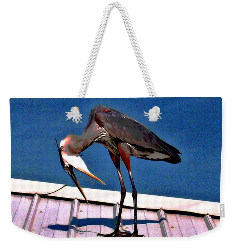Heron Weekender Tote Bag featuring the photograph Bowing Blue Heron by Marian Bell
