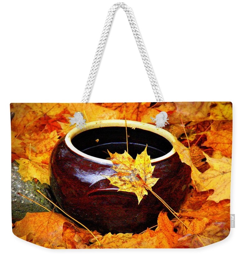 Still Life Weekender Tote Bag featuring the photograph Bowl And Leaves by Rodney Lee Williams