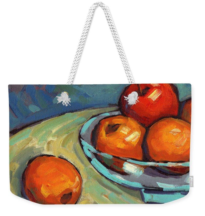 Lemons Weekender Tote Bag featuring the painting Bowl Of Fruit 2 by Konnie Kim
