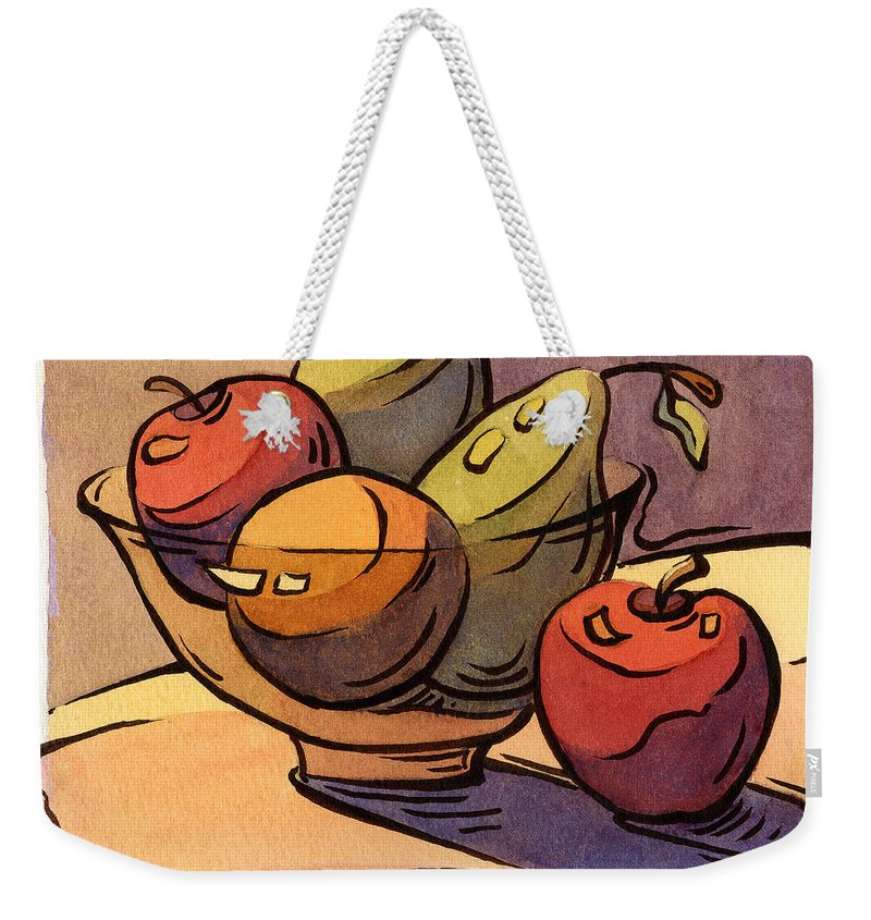 Radishes Weekender Tote Bag featuring the painting Bowl Of Fruit 8 by Konnie Kim