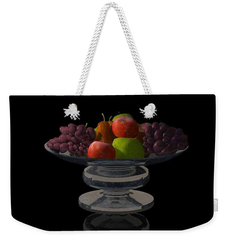 Still Life Weekender Tote Bag featuring the digital art Bowl Of Fruit... by Tim Fillingim