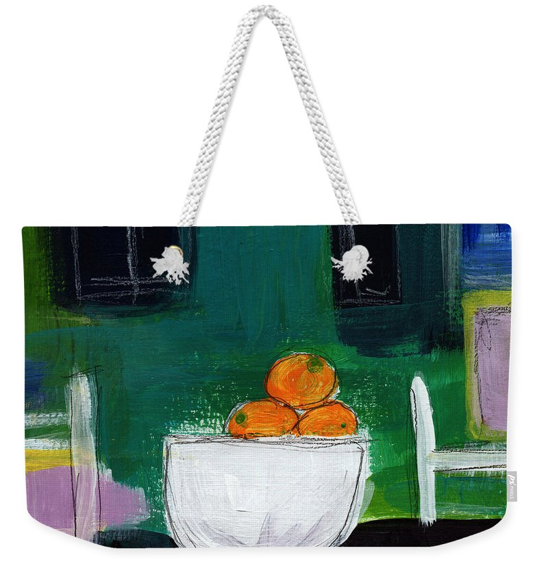 Oranges Weekender Tote Bag featuring the painting Bowl Of Oranges- Abstract Still Life Painting by Linda Woods