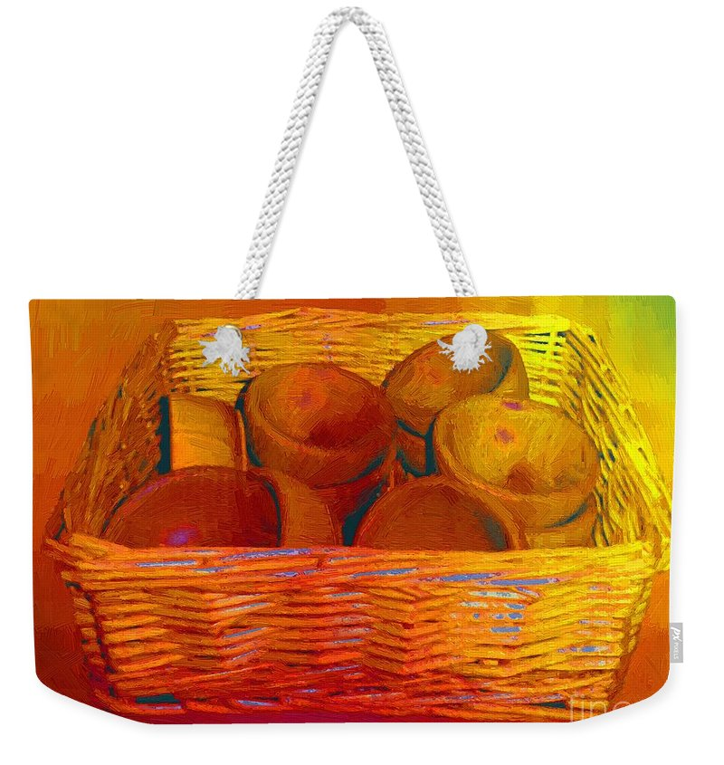 Basket Weekender Tote Bag featuring the painting Bowls In Basket Moderne by RC DeWinter