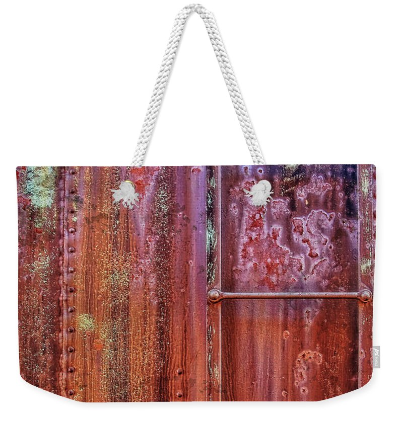 Abstract Weekender Tote Bag featuring the photograph Boxcar Ladder by Marcia Colelli