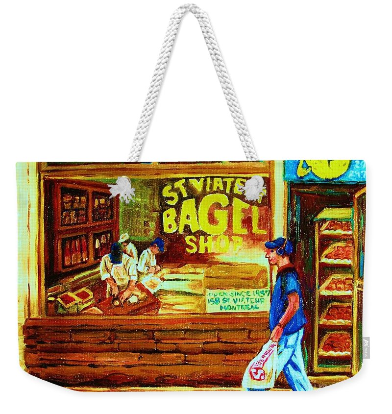 St.viateur Bagel Weekender Tote Bag featuring the painting Boy With The Steinbergs Bag by Carole Spandau