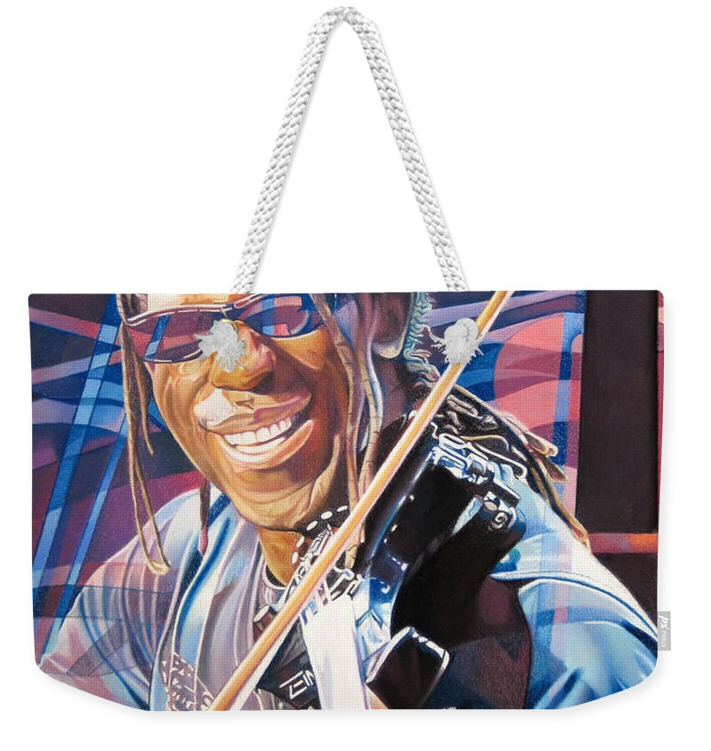 Boyd Tinsley Weekender Tote Bag featuring the drawing Boyd Tinsley And 2007 Lights by Joshua Morton