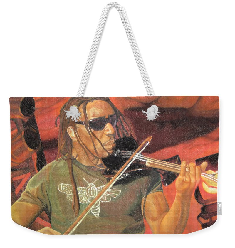 Boyd Tinsley Weekender Tote Bag featuring the drawing Boyd Tinsley At Red Rocks by Joshua Morton