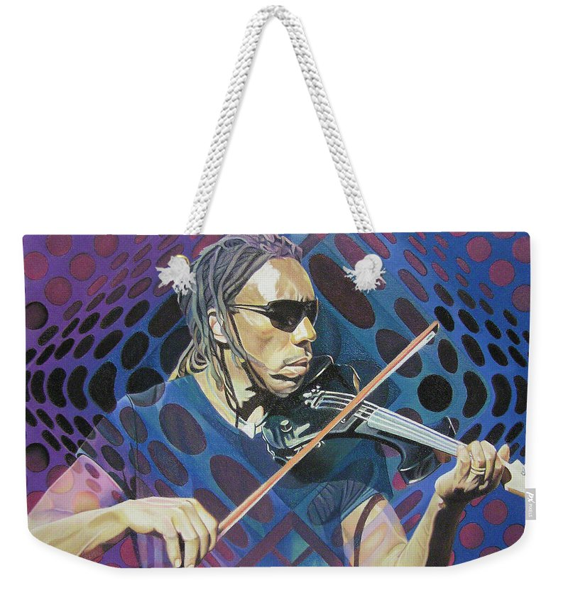 Boyd Tinsley Weekender Tote Bag featuring the drawing Boyd Tinsley-op Art Series by Joshua Morton
