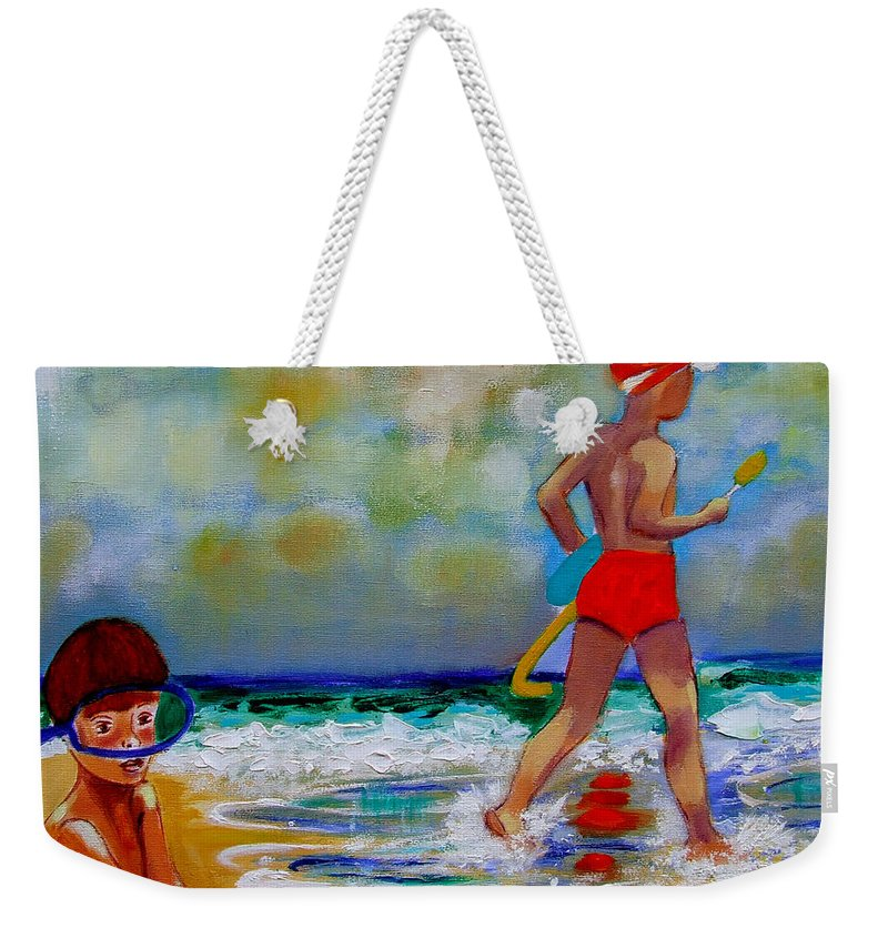 Seascape Weekender Tote Bag featuring the painting Boys Own by Rusty Gladdish