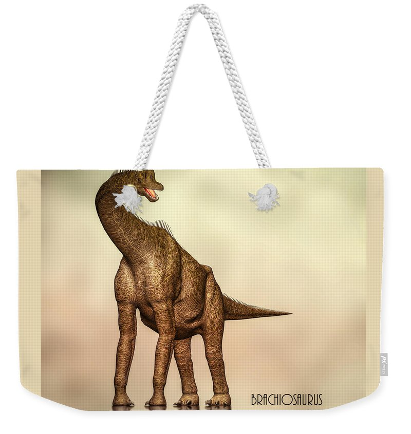 Jurassic Weekender Tote Bag featuring the digital art Brachiosaurus Dinosaur by Bob Orsillo