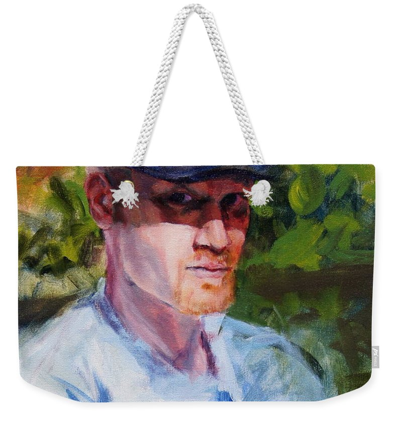 Brad Weekender Tote Bag featuring the painting Brad by Mary Haas