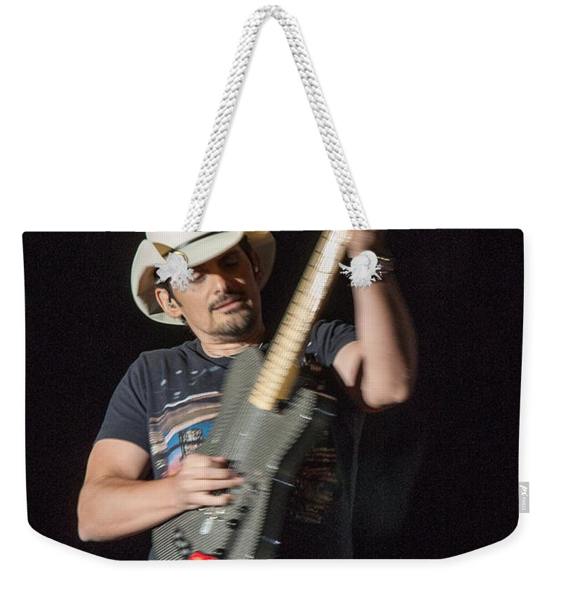 Keith Urban Weekender Tote Bag featuring the photograph Brad Paisley 1 by Mike Burgquist