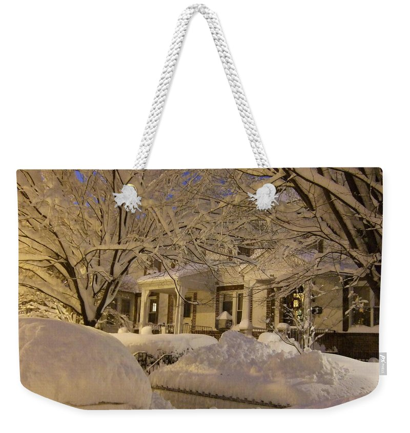 Weekender Tote Bag featuring the photograph Branches And Snow Mounds by Katerina Naumenko