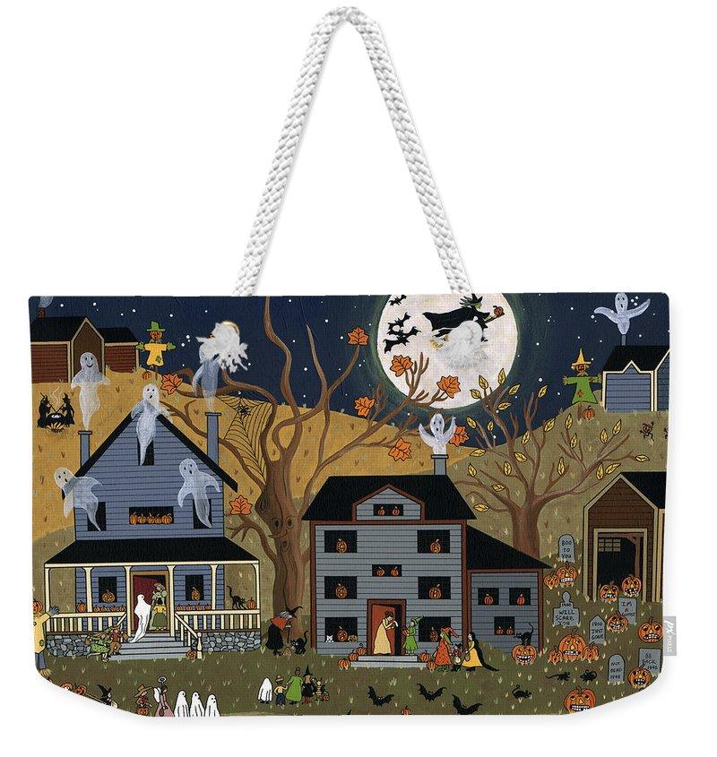 Halloween Weekender Tote Bag featuring the painting Brandon's First Halloween by Medana Gabbard
