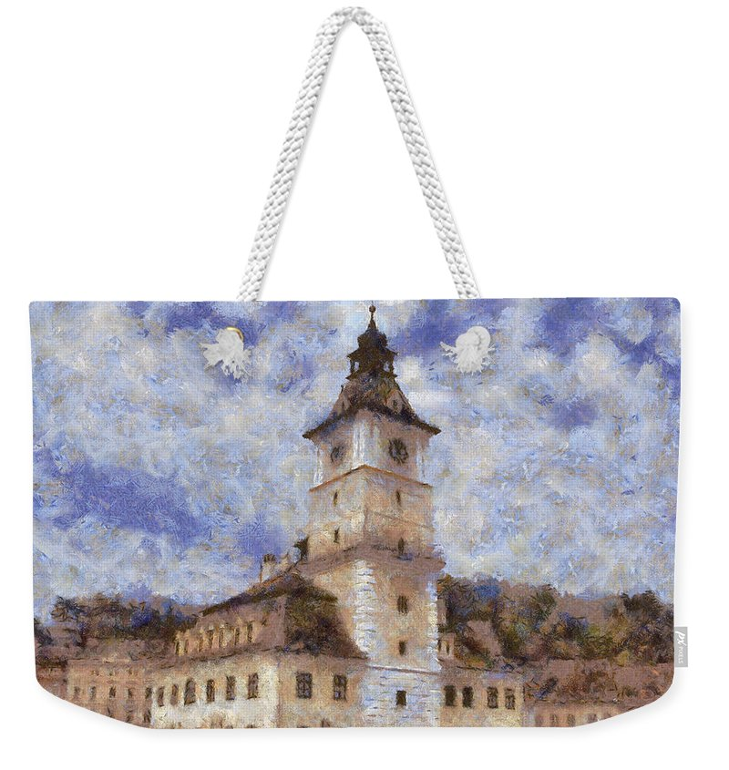 Architecture Weekender Tote Bag featuring the painting Brasov City Hall by Jeffrey Kolker