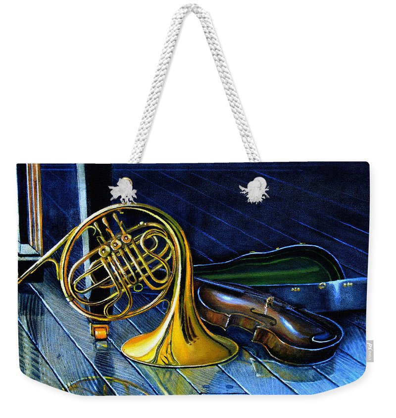 Musical Instrument Still Life Weekender Tote Bag featuring the painting Brass And Strings by Hanne Lore Koehler
