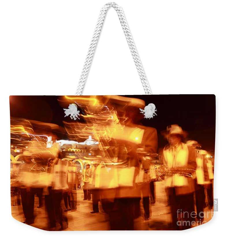 Brass Band Weekender Tote Bag featuring the photograph Brass Band At Night by James Brunker