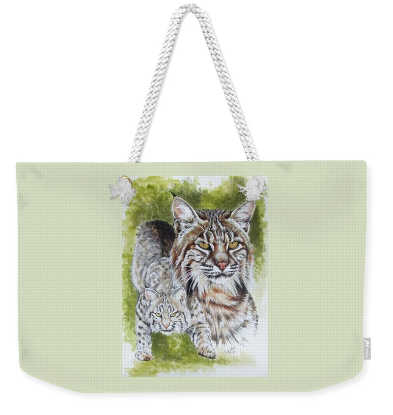 Small Cat Weekender Tote Bag featuring the mixed media Brassy by Barbara Keith