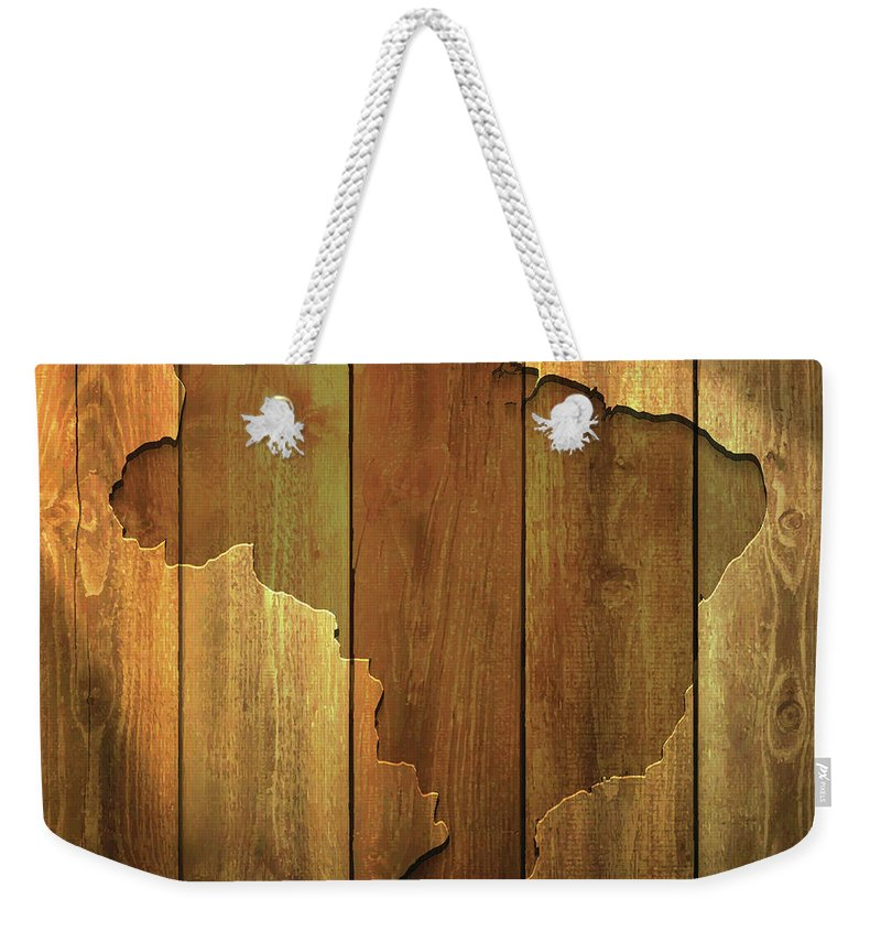 Material Weekender Tote Bag featuring the digital art Brazil Map On Lit Wooden Background by Bgblue