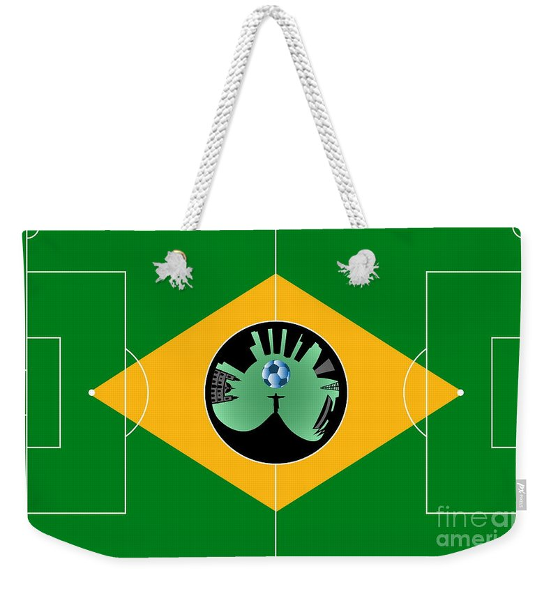 2014 Weekender Tote Bag featuring the digital art Brazilian Football Field by Michal Boubin