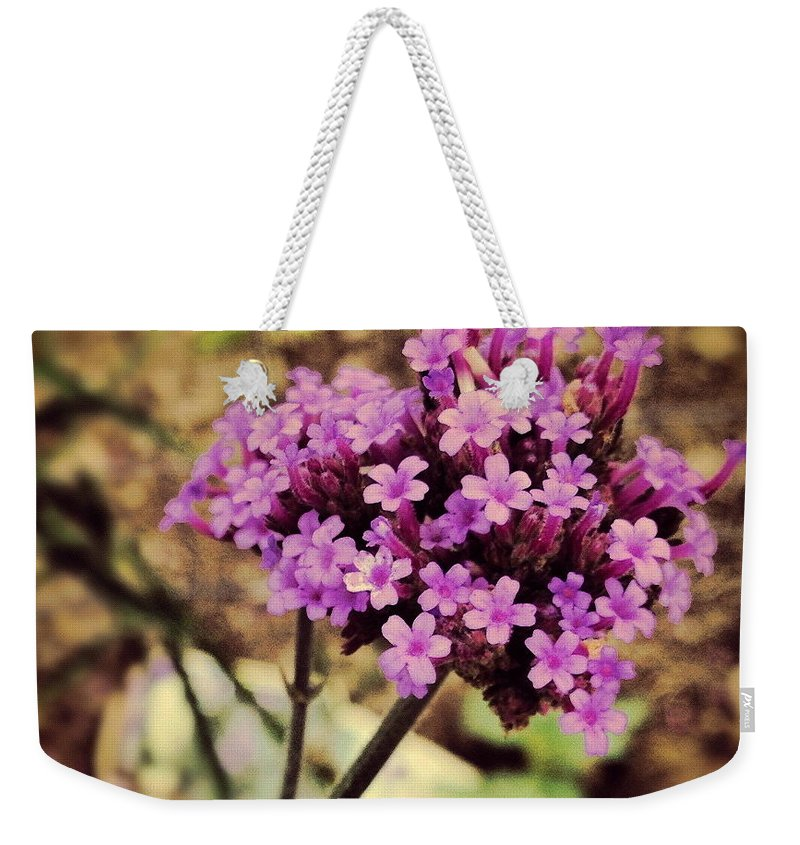 Flower Weekender Tote Bag featuring the photograph Brazilian Verbena by Angela Rath